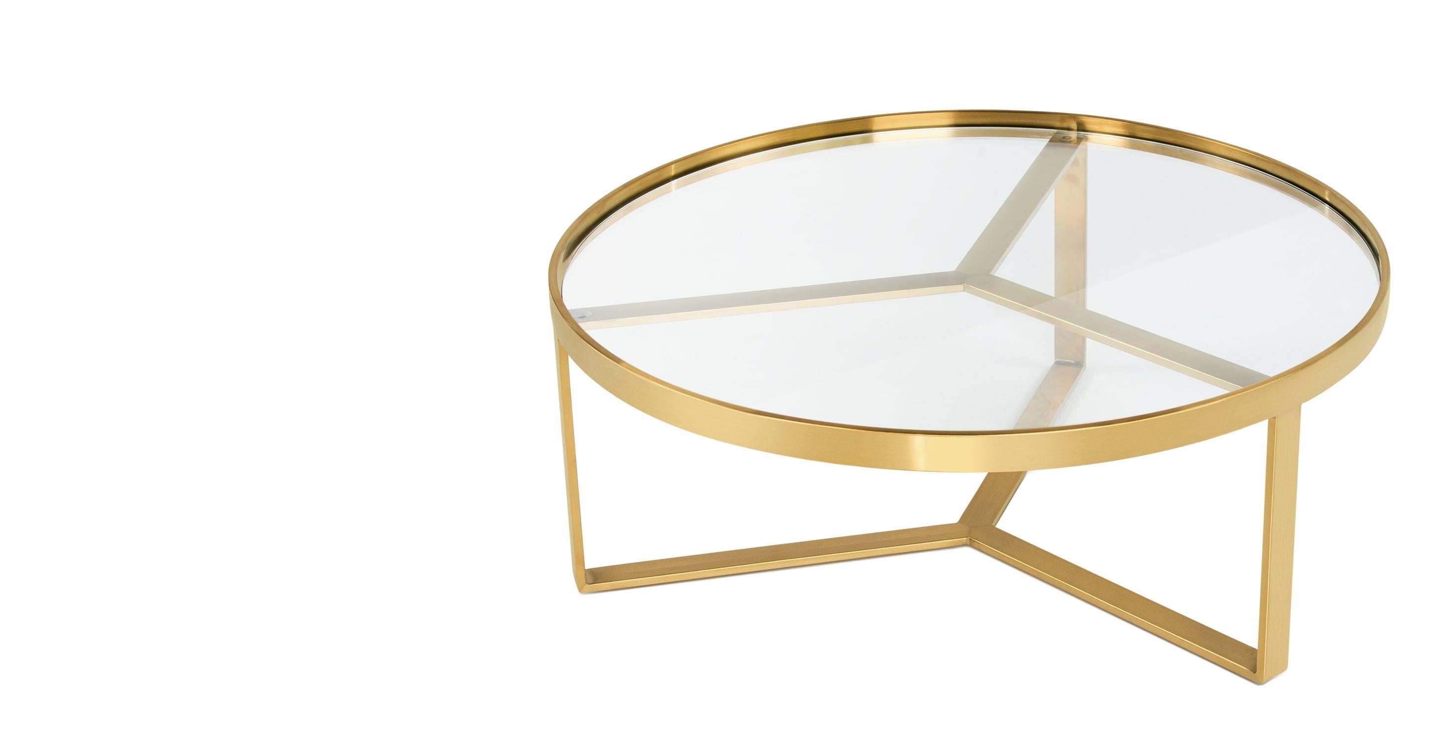 table basse verre laiton