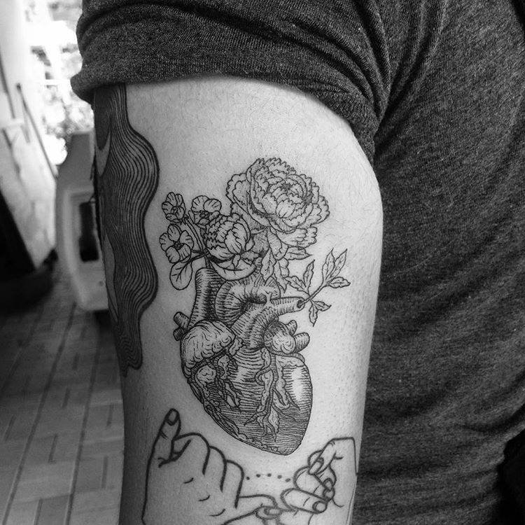 Vintage Blackwork anatomical heart with flowers tattoo by Alexandyr ...