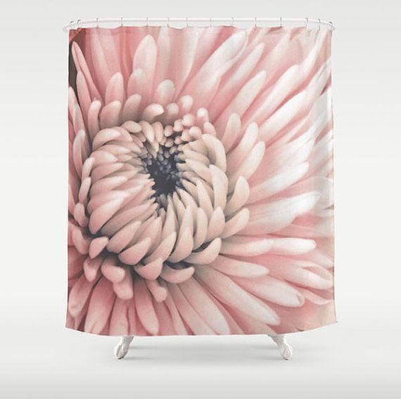 Pink Fabric Shower Curtain-Flower Bath Decor-Floral Shower ...