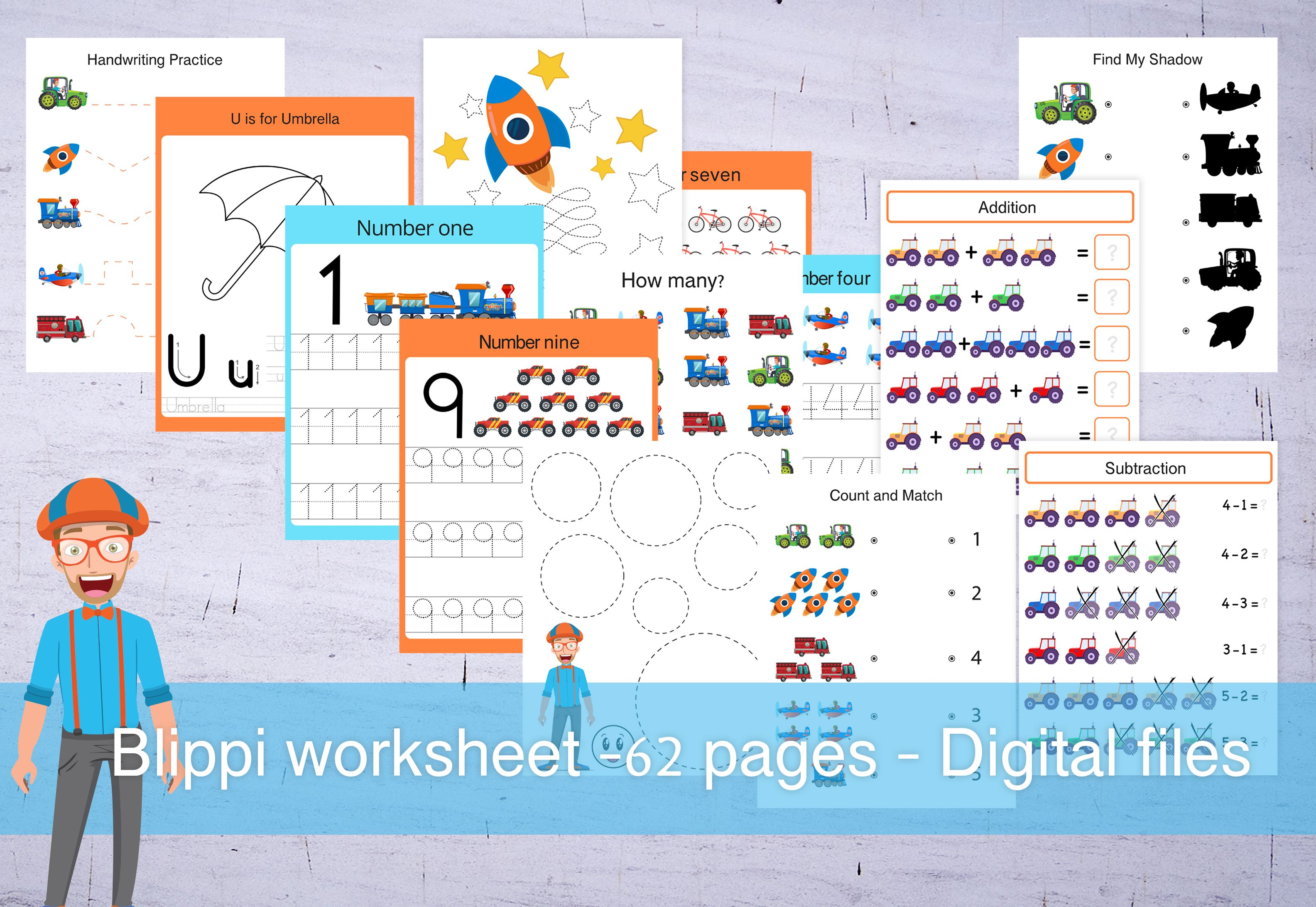 62 Blippi Printables Handrawing Practice Shapes Addition And Subtraction Math Sheets Letter Tracing Number Tracing Colouring Pages In 2020 Colouring Pages Math Sheets Educational Worksheets