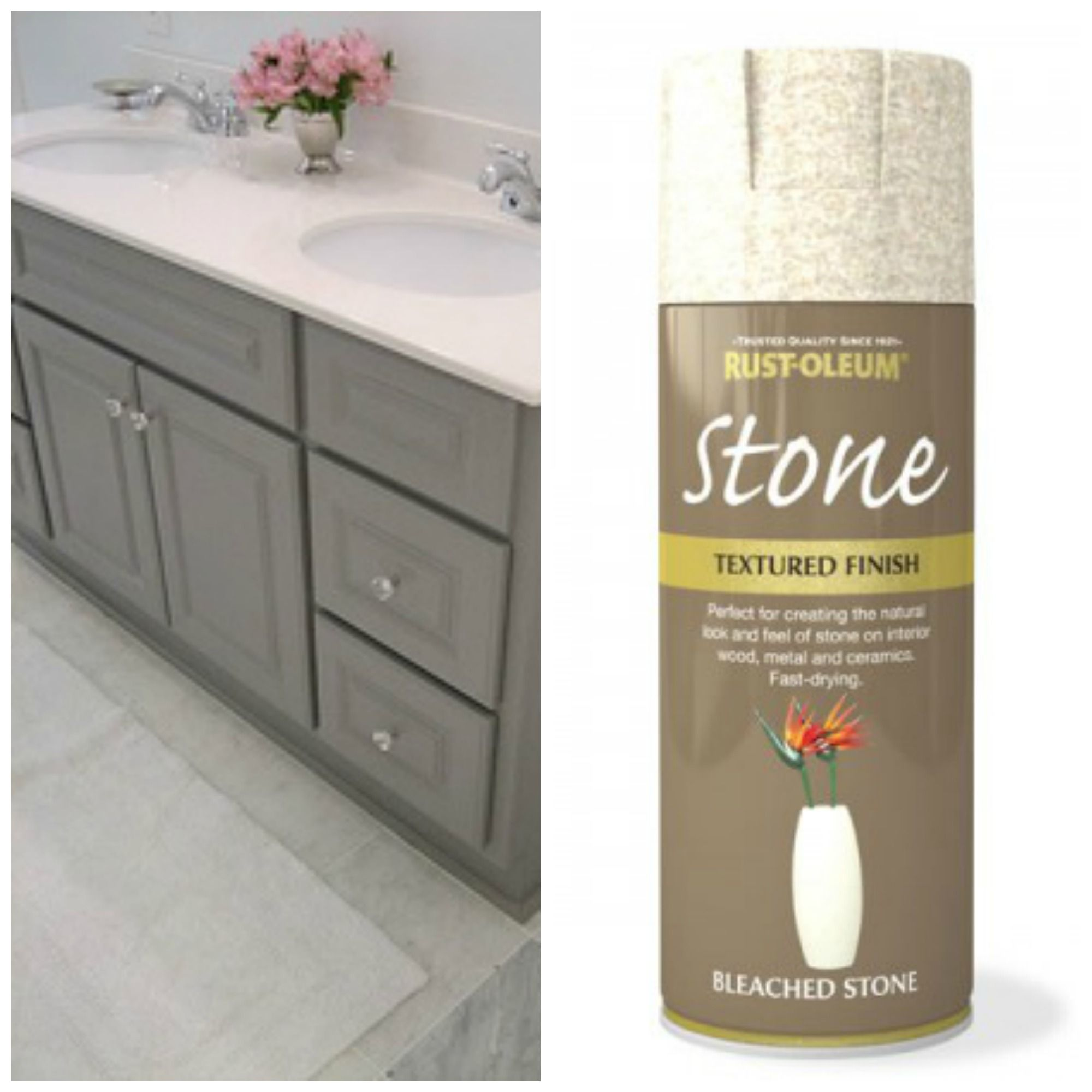 Grey Cabinet With Stone Colored Spray Paint For Counter Top Painting Kitchen Countertops Painting Bathroom Kitchen Design Diy