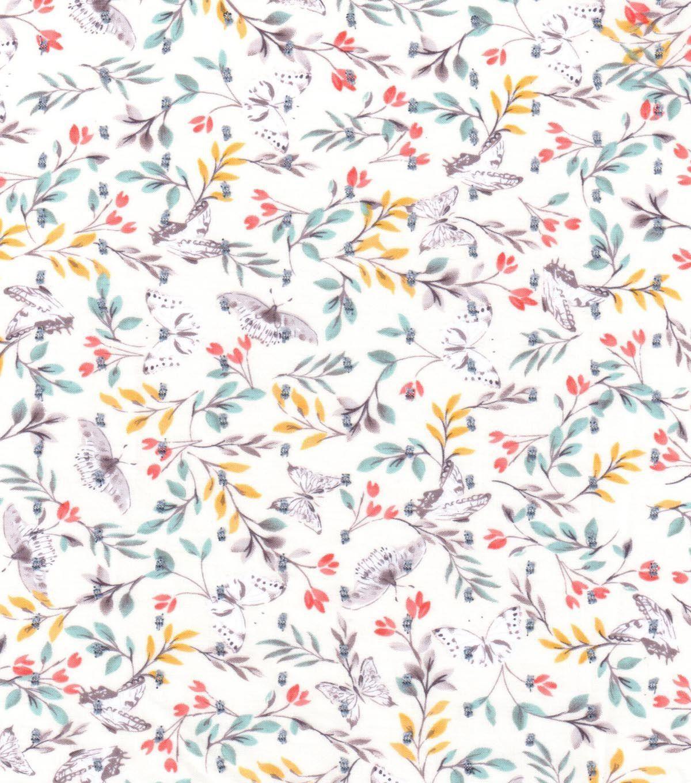 Warm Weather Apparel FabricSwiss Dot Butterfly Garden