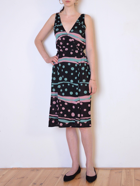 90 S Italian Wrap Dress Dots And Stripes Chiffon Midi Etsy Chiffon Midi Dress Vintage Wrap Dress Wrap Over Dress [ 3000 x 2261 Pixel ]