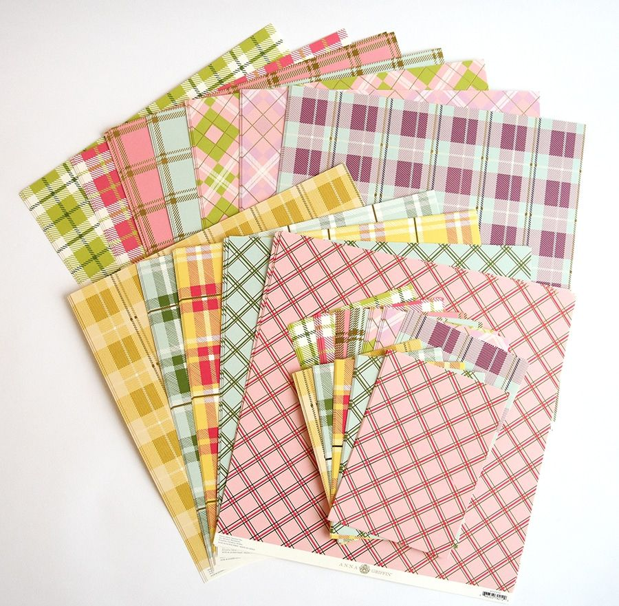 """Anna Griffin Spring Plaid Cardstock 12-5/"""" x 7/"""" Sheets"""