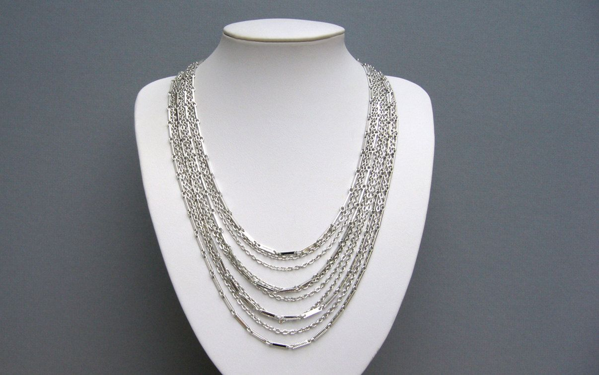 """Sarah Cov Silver Tone Multi Strand Link Chain Necklace 20"""" by TastefullyCreative on Etsy"""