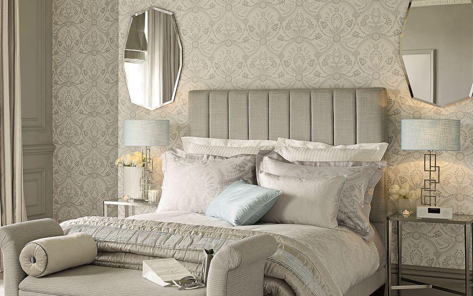 Almeida seaspray blue patterned wallpaper at laura ashley for Blue patterned wallpaper bedroom