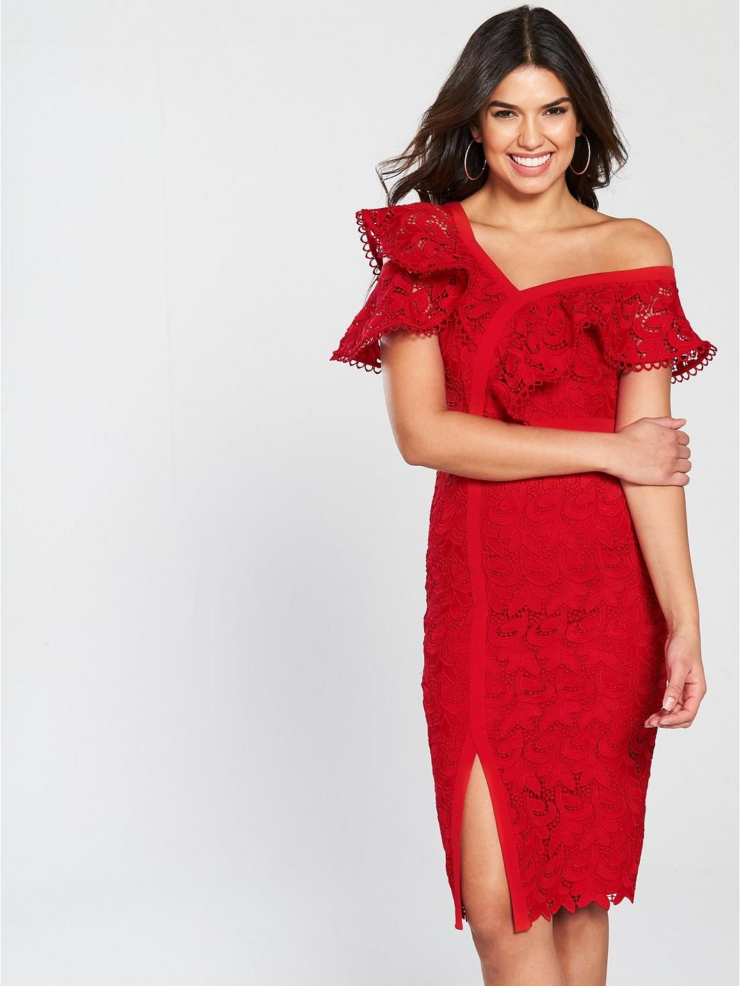 V by Very Lace Frill Pencil Dress  b90697dd1