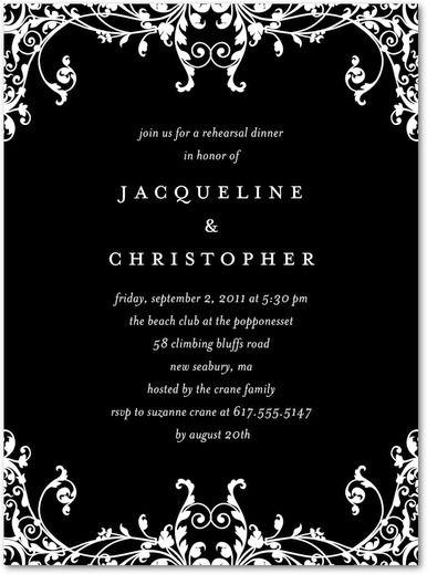 elegant eternity signature white rehearsal dinner invitations