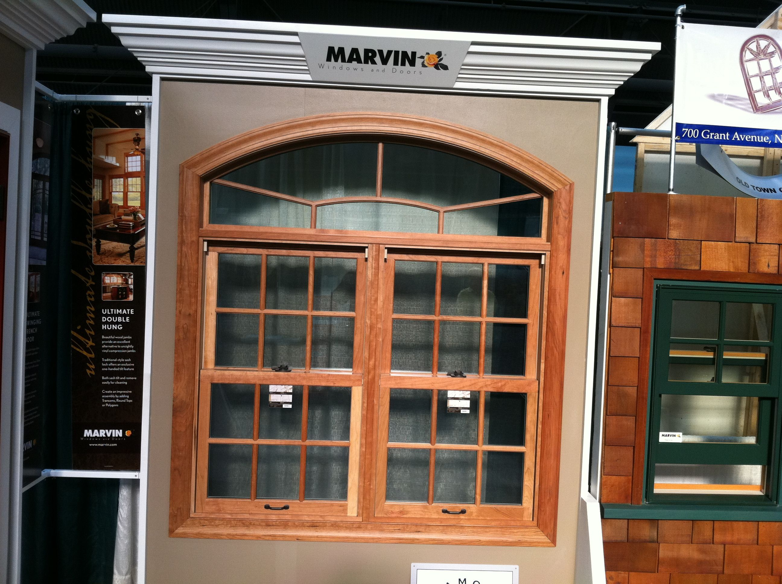 Pair Of Marvin Clad Double Hung Windows With Arched Top Transom Cherry Interior Custom 7 8 Sdl From The Old T Double Hung Double Hung Windows Window Design
