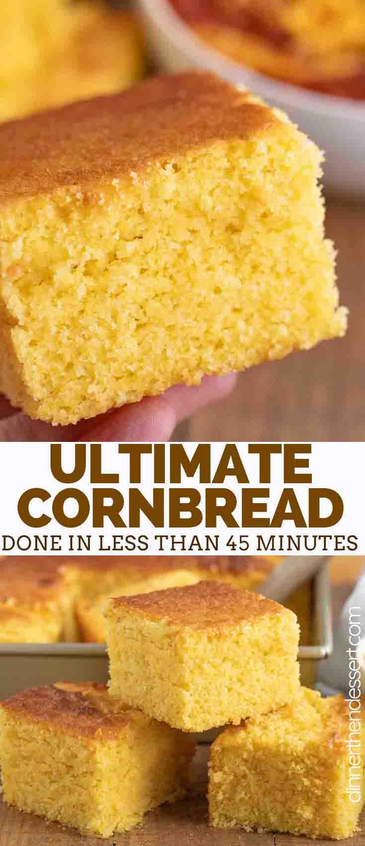 Ultimate Cornbread Is Incredibly Easy To Make Made With Cornmeal Flour And Sugar It S Sweet Cornbread Recipe Sweet Corn Bread Recipe Best Cornbread Recipe