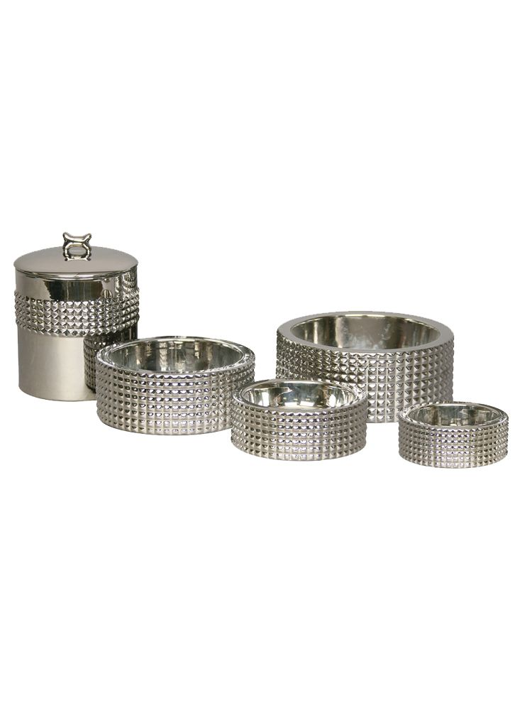 The Berlin designer dog bowl from Unleashed Life is rough and tough with its studded nickel plated finish. The luxury feeder makes a dramatic statement.