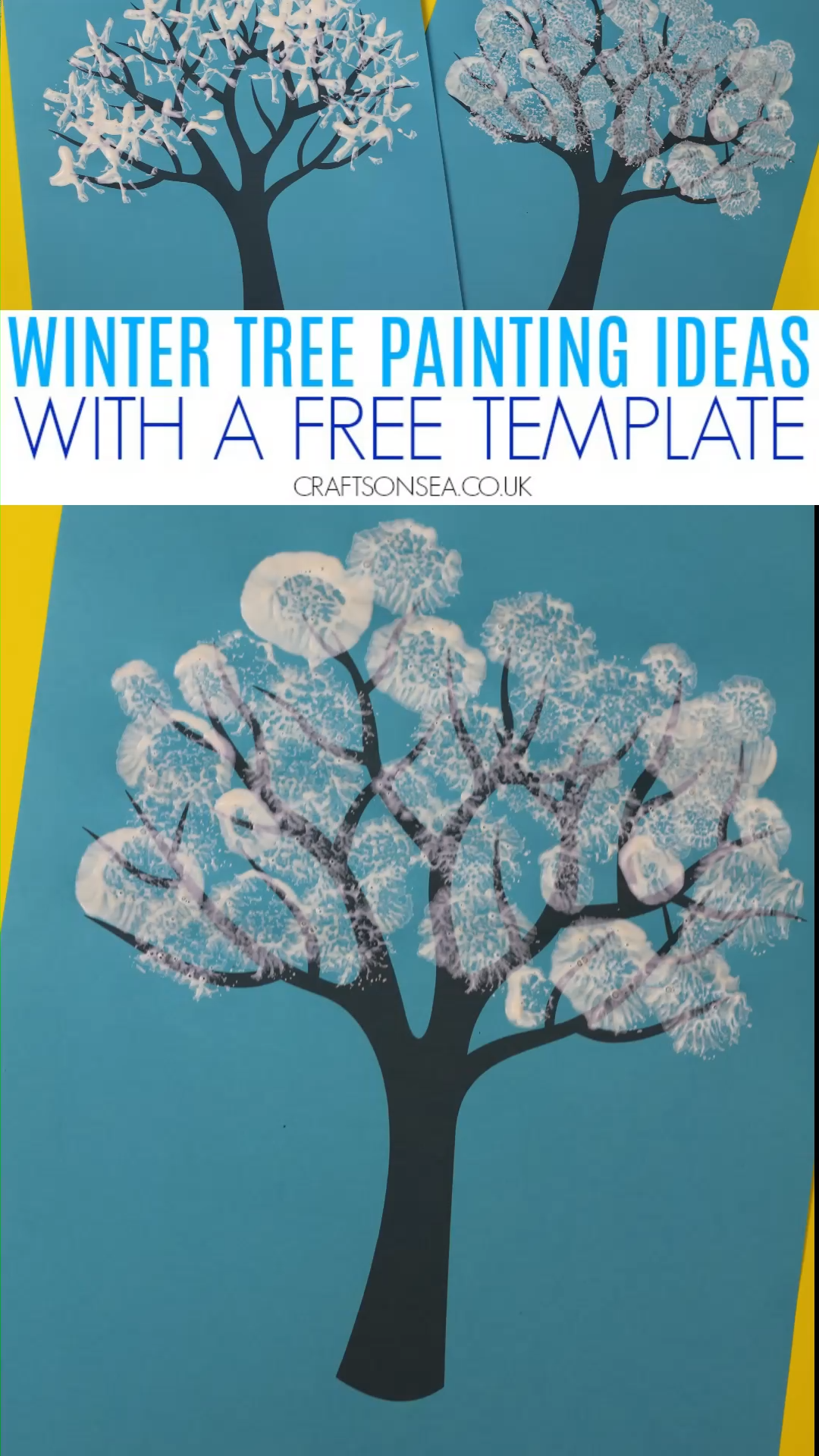 Photo of Winter tree painting craft for kids with a free printable