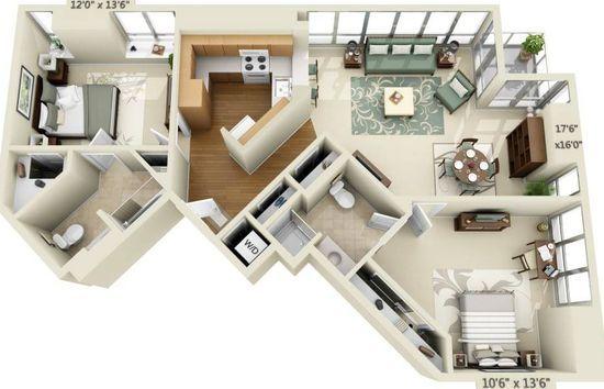 388 Beale St San Francisco Ca 94105 Studio Apartment Floor Plans Apartment Floor Plans 2 Bedroom House Plans