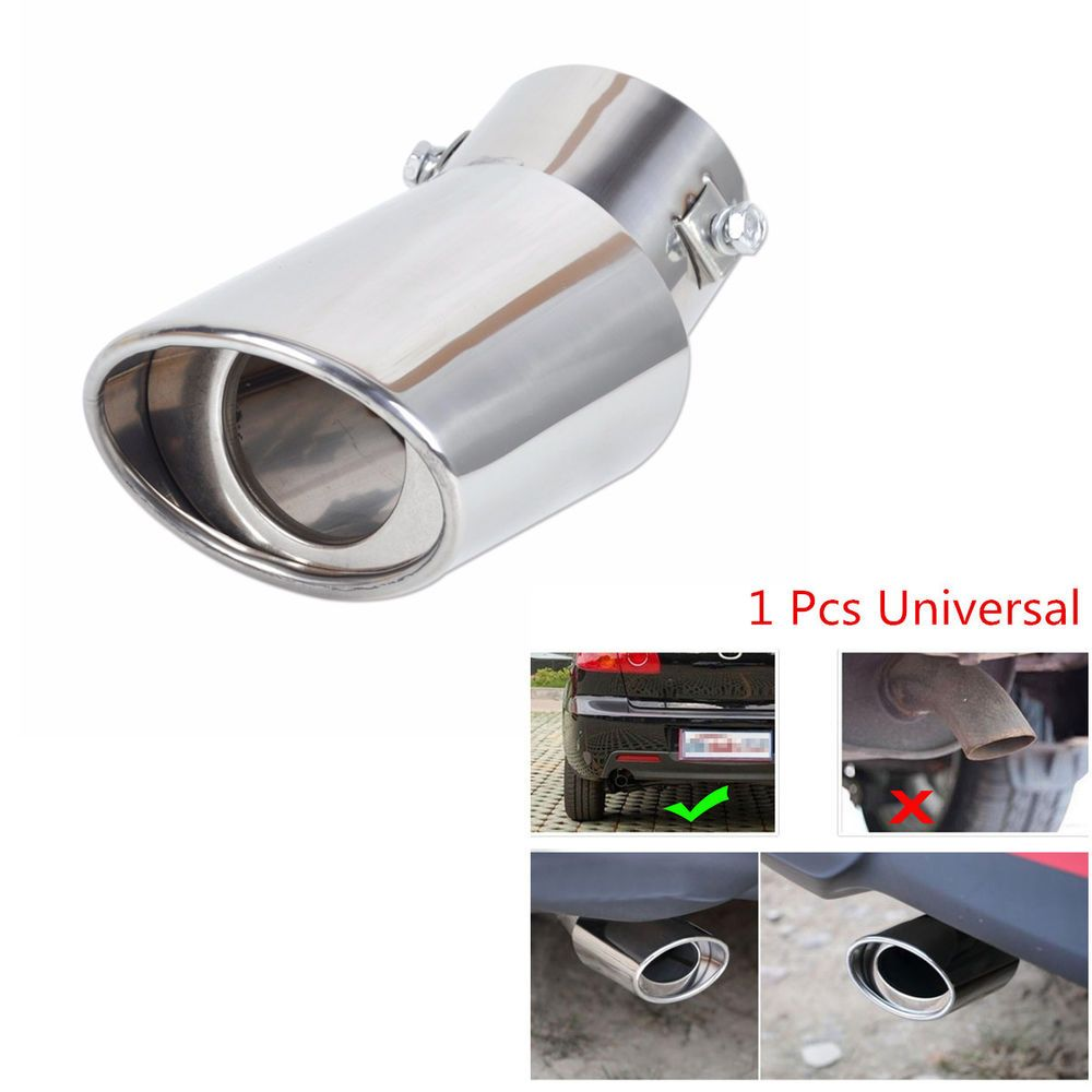 Universal Round Stainless Steel Chrome Muffler Car Exhaust Tail Pipe Tip New