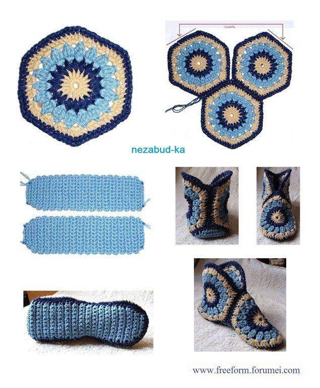 DIY crochet slippers the easy way! | Luciernaga | Pinterest | Lana ...