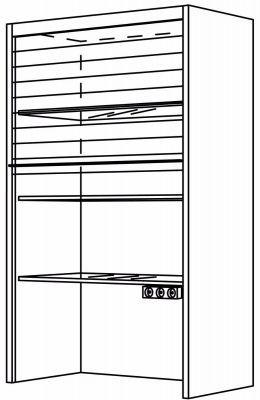 Nobilia Aufsatzschrank Glas Jalousie 3 Glaseinlegeboden 3 Steckdosen Jalousien Nobilia Schrank