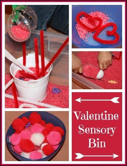 Valentine Sensory Bin - a simple sensory bin for Valentine's Day that promotes fine motor skills, language skills, and a creative imagination || Gift of Curiosity