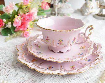 tea cup and saucer set vintage porcelain Slav porcelain pink tea cup set HCH tea cups rose porcelain vintage teacup and saucer