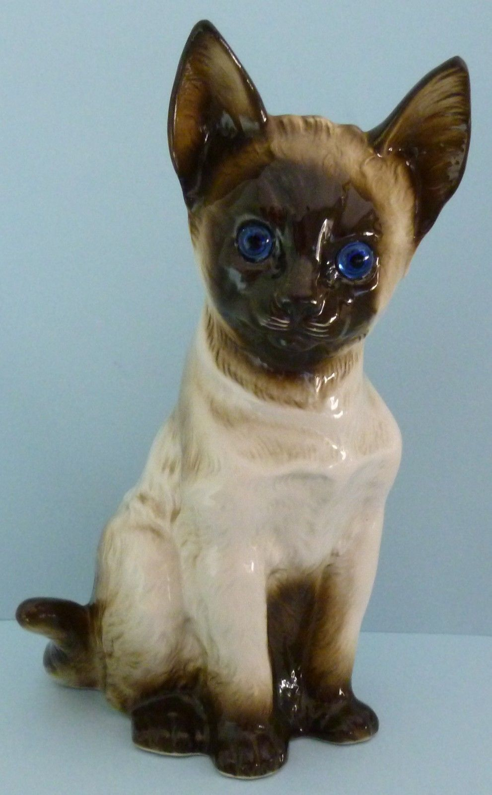 Porcelain Siamese Cat Kitten Desk Bedside Lamp Blue Eyes Animal ...
