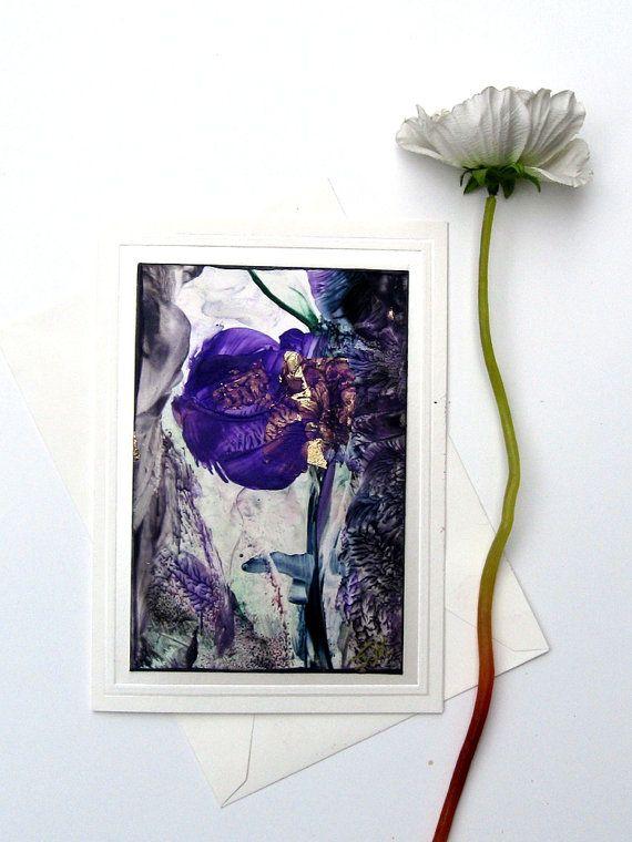 Purple Poppy Goldleaf Original Encaustic Art Card by StudioSabine, $20.00
