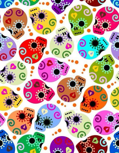 Day Of The Dead Skulls Fabric By Third Half Studios