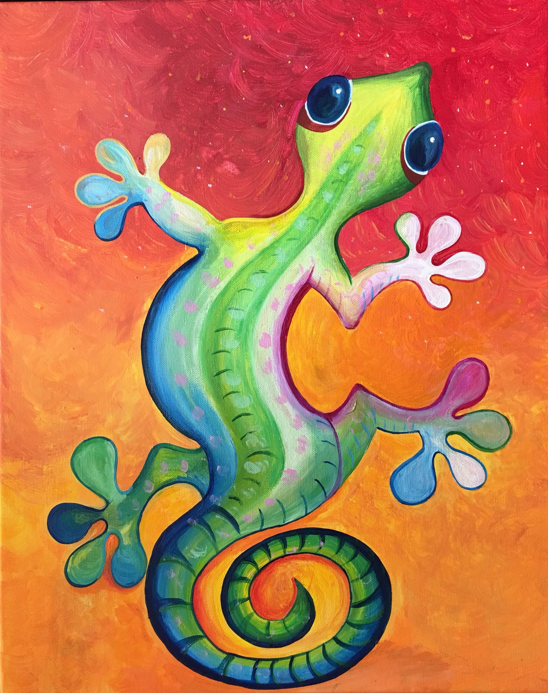 lizard gecko painting acrylic copy cat and other work of mine