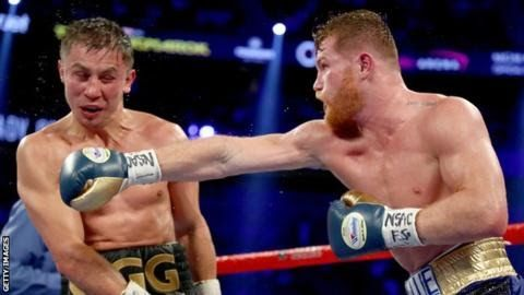Golovkin (left) landed more punches overall during the 12 rounds  Gennady Golovkin's world middleweight title fight with Saul 'Canelo' Alvarez ended in a controversial draw.  After  a closely fought bout in Las Vegas one judge scored it 118-110 for  Alvarez another 115-113 for Golovkin and the third a 114-114 draw. There were boos when the decision was announced at the T-Mobile Arena and both boxers shook their heads.  Kazakh Golovkin 35 retains his WBA WBC and IBF titles and remains unbeaten in