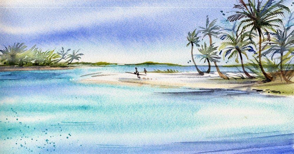3 Fois Tahiti Tahiti Aquarelle Peinture Aquarelle