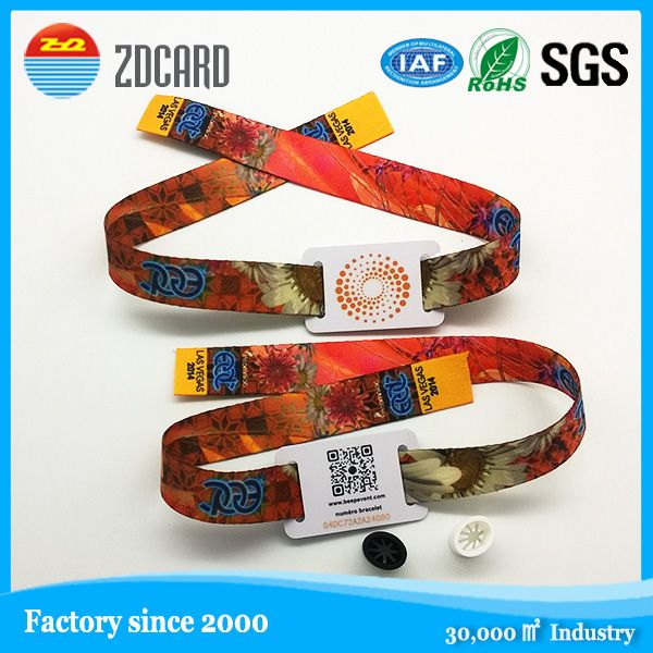 Festival Event Fabric Woven Wristband With Band Tag Qr