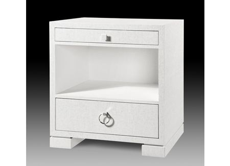 Bungalow 5 FRANCES 2 DRAWER SIDE WHITE: TEXTURED LACQUERED GRASSCLOTH:  PULLS Dimensions 26.5 X 18 X 29H