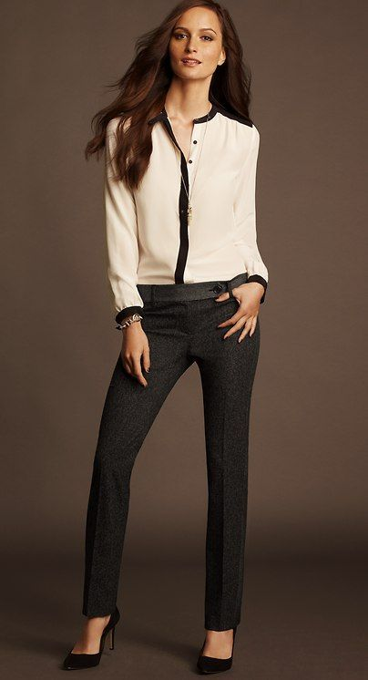 Sleek Chic Office Outfit By Ann Taylor Tailored Pants White Top Black Pumps Cly Attire For The Timeless