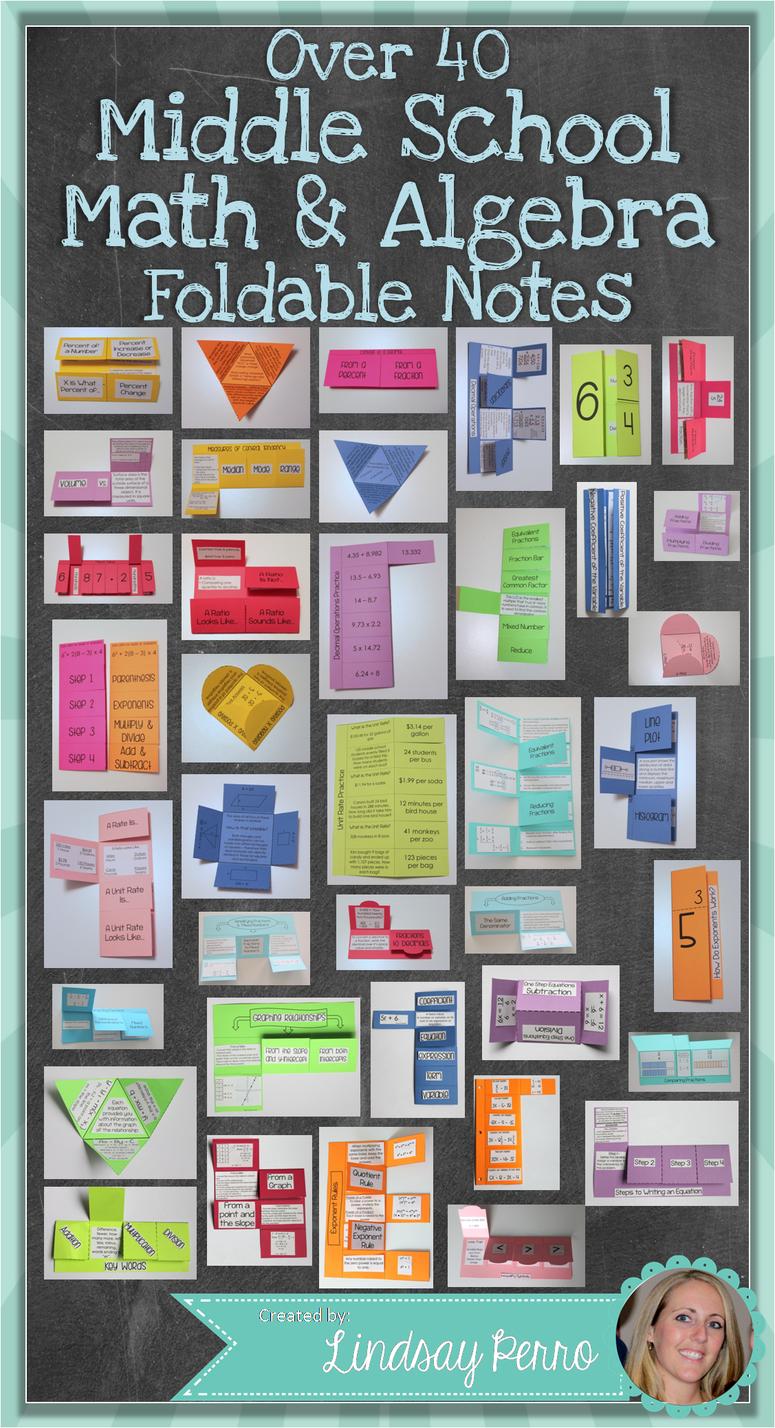 Middle School Math Foldable Style Notes Education