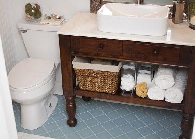 vessel sink and furniture vanity love organizing for DIY Bathroom Vanity Plans Weekend Bathroom Makeovers