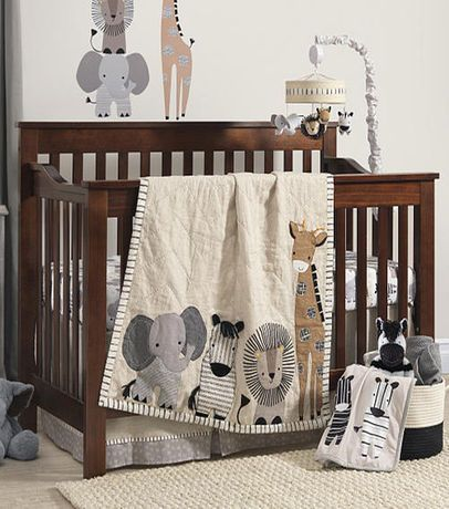 Lambs Ivy Signature Tanzania Tan Gray Safari 4 Piece Crib Bedding Set