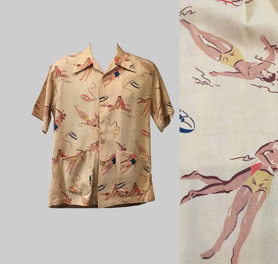 AELFRIC EDEN Mens Novel Casual Fashion Shirt Graphic Print Button Down Shirts