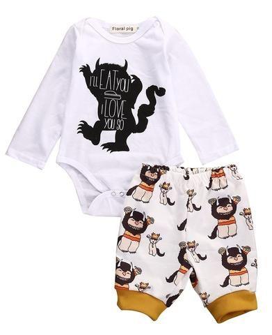 f5f0ec315 2Pcs! 2016 Newborn Baby Girl Boy clothing set Cotton Clothes Long  Sleevedresskily
