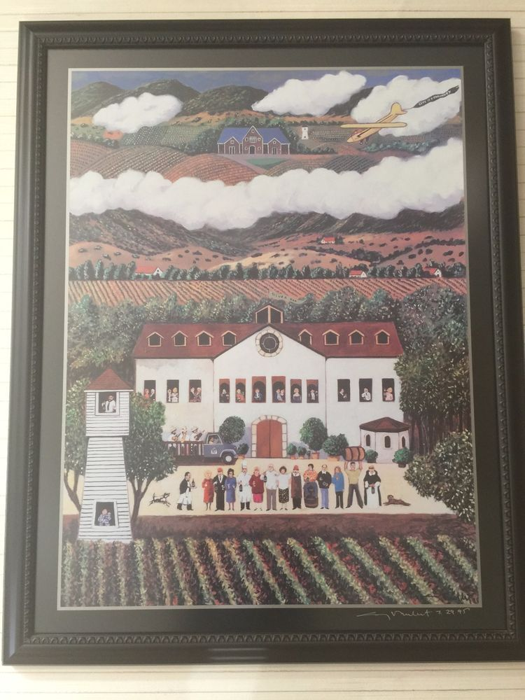 Guy Buffet Winery Print, Signed, Framed, 21\