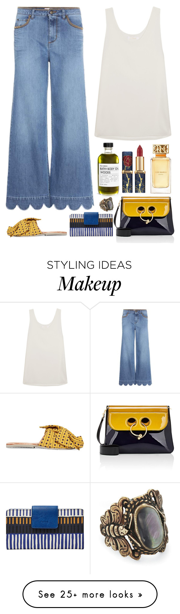 """""""5.622"""" by katrina-yeow on Polyvore featuring Chloé, RED Valentino, Brother Vellies, FOSSIL, J.W. Anderson and Tory Burch"""