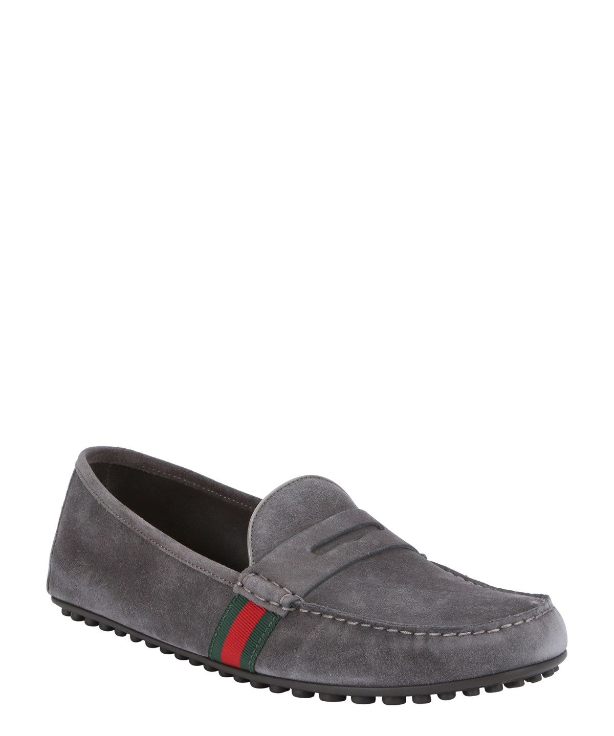 4a78adfff2b GUCCI Grey Suede Web Stripe Driving Loafers .  gucci  shoes  loafers ...