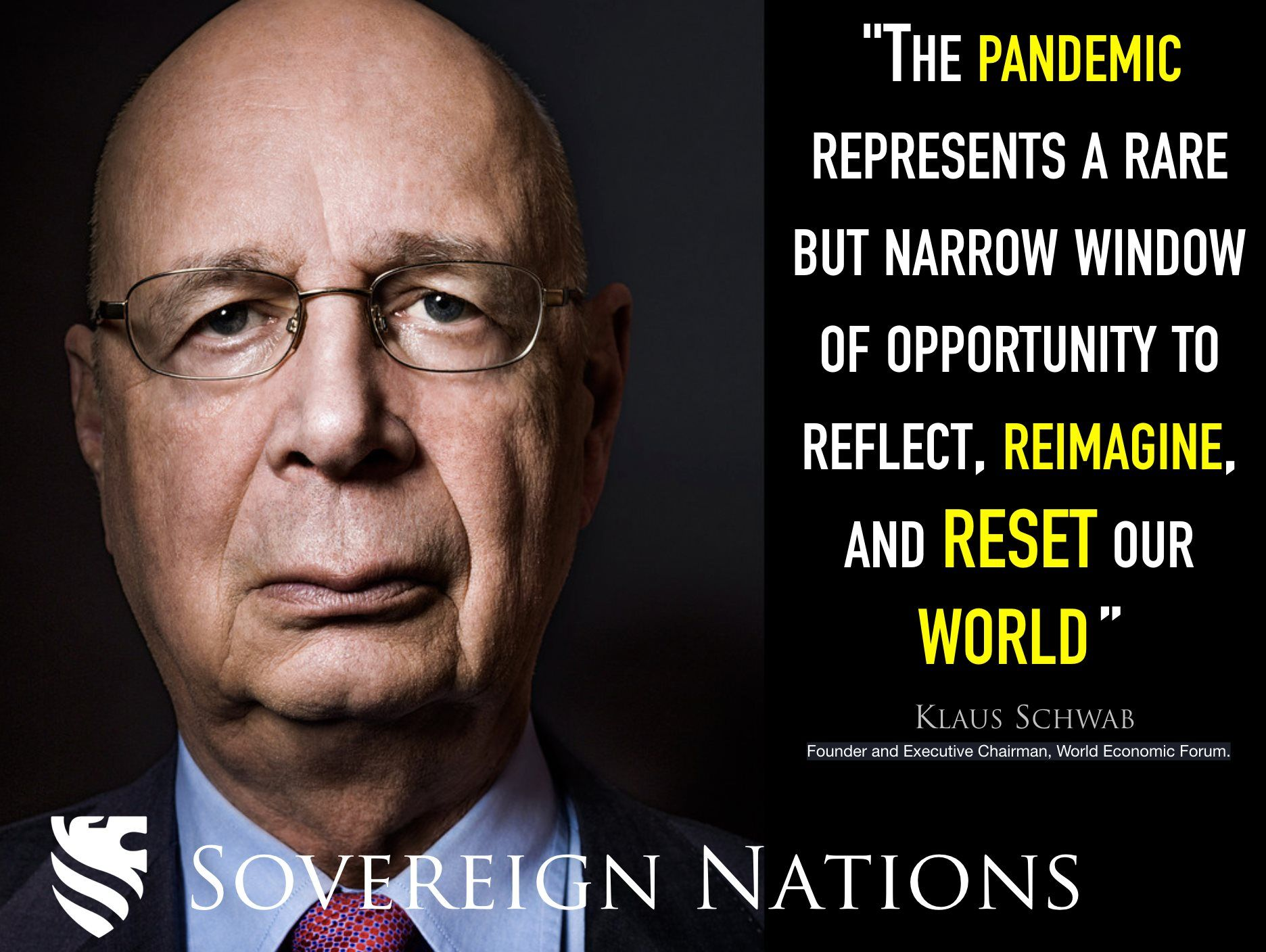 "Klaus Schwab promoting ""The Great Reset."" in 2020 