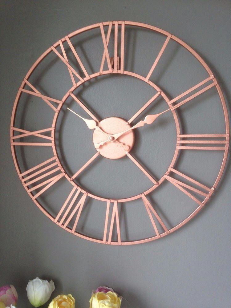 Rose Gold Copper Colour Metal Skeleton Wall Clock Roman Numerals 40 Cm Home Furniture Diy Clocks Rose Gold Room Decor Rose Gold Kitchen Gold Room Decor