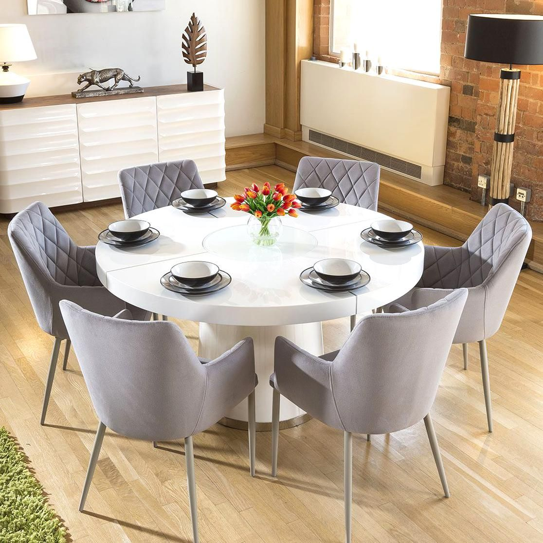 Large White Circular 14 Dining Table 6 Ice Grey Carver Chairs In 2020 Round Dining Table Round Dining Table Sets White Round Dining Table