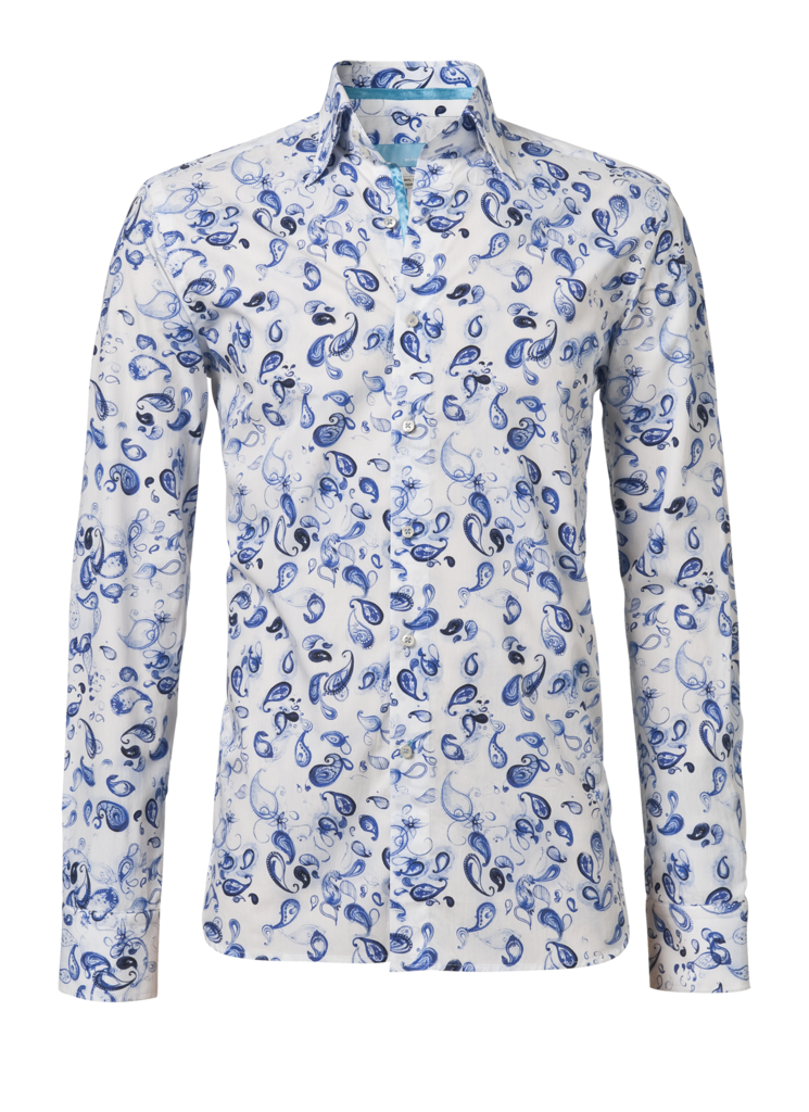 This is a nice white shirt with a separate blue print. There are all blue