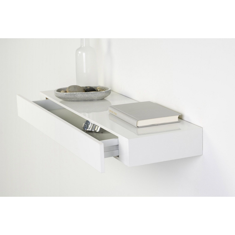 Tablette décorative tiroir en mélaminé laqué blanc, 25x48cm, ép. 10 ...