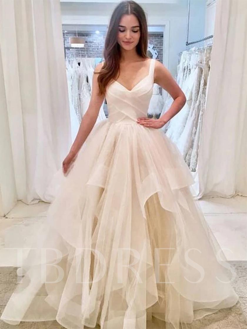 Straps Tiered Ball Gown Wedding Dress 2019