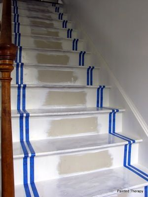 How to paint stairs staircases paint stairs and basements - Escalier peint 2 couleurs ...