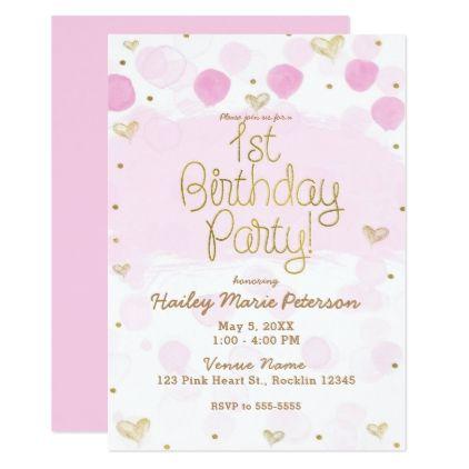 Pink Gold White Polka Dots Hearts 1st Birthday Card