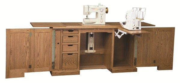 Amish Furniture Sewing Machine Deluxe Cabinet Cabinets Handcrafted Home Goods