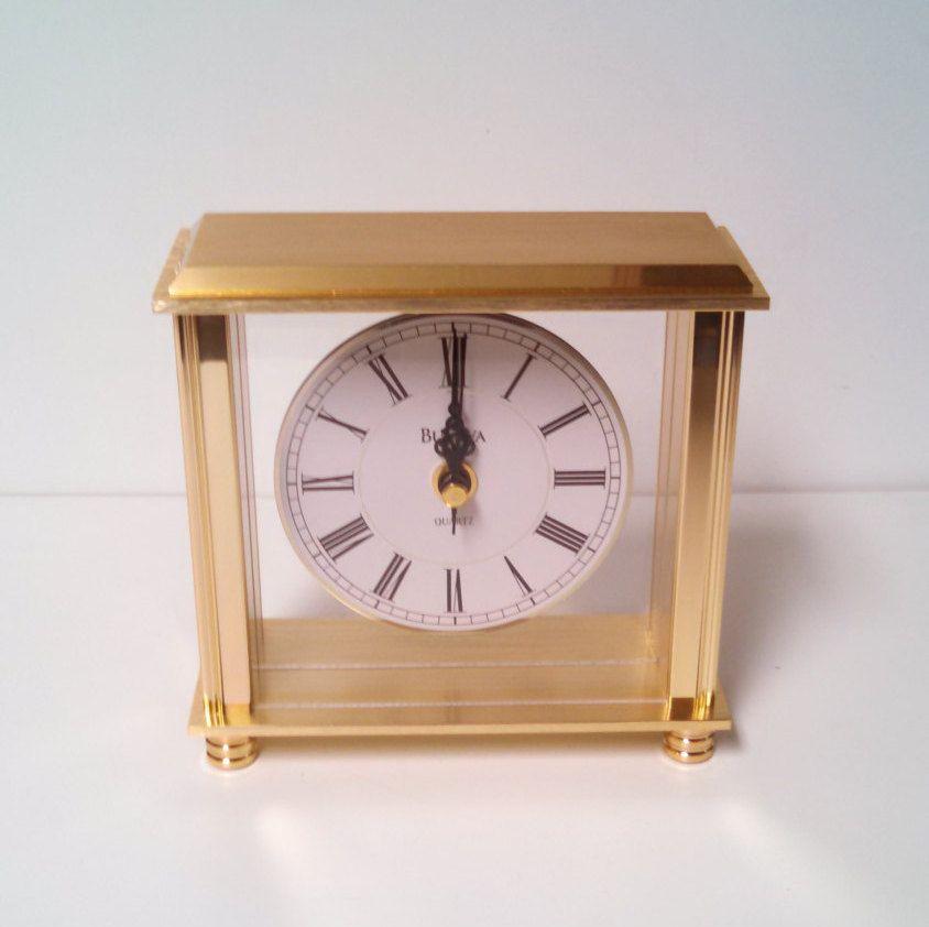 Bulova Desk Clock B 1703 4 Cheryl Brass Table Clock Office Clock Mantel Clock Retro And Modern Desk Clock Office Clock Table Clock