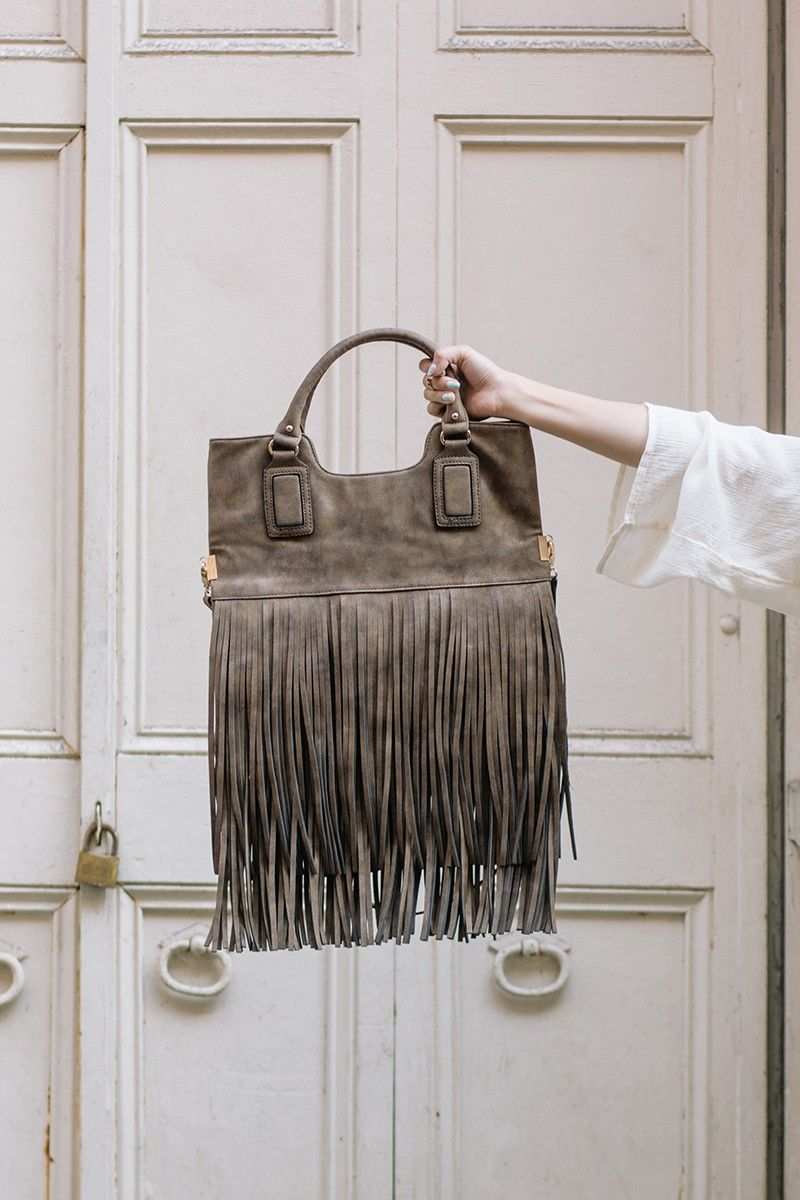 Luxuriously distressed bronze fringe tote by Sole Society